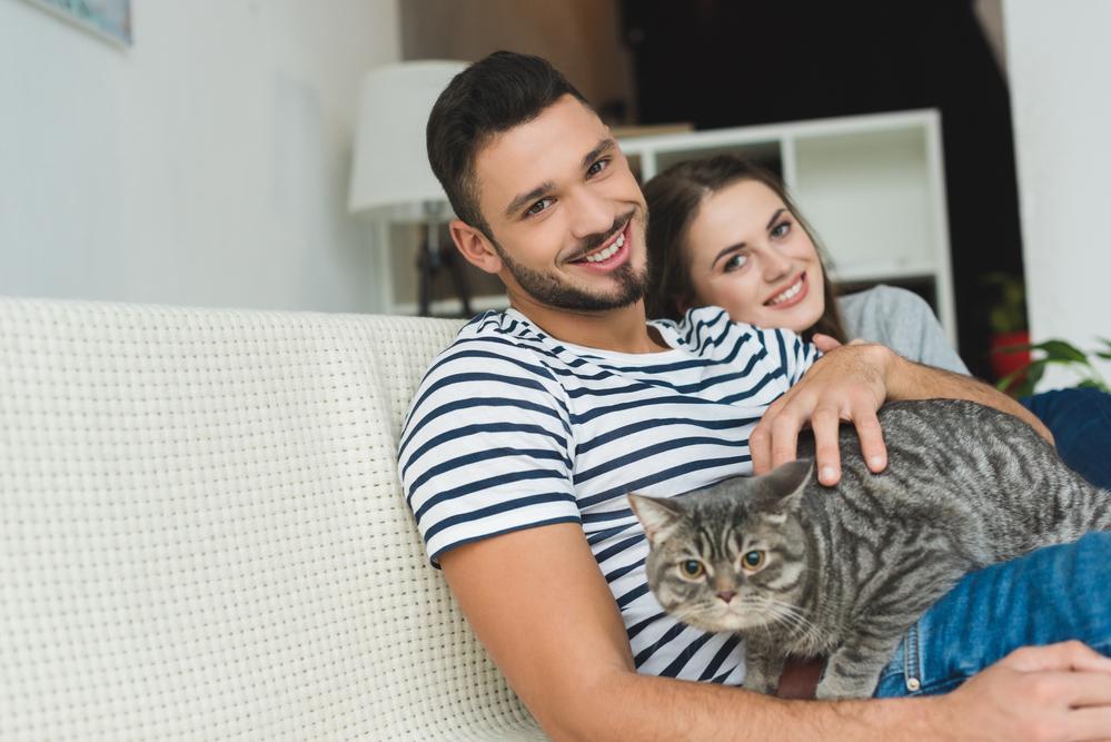 парень и девушка с котом