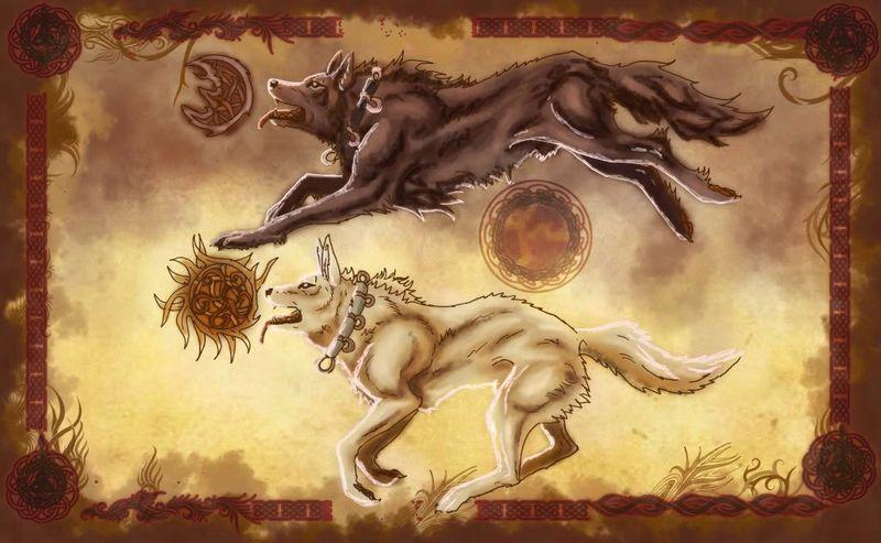 Хати и Сколь преследуют Мани (луна) и Соль (солнце)