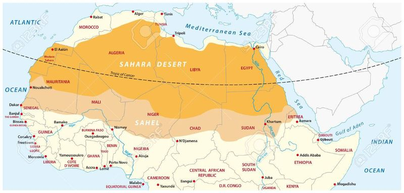 Пустыня Сахара на карте