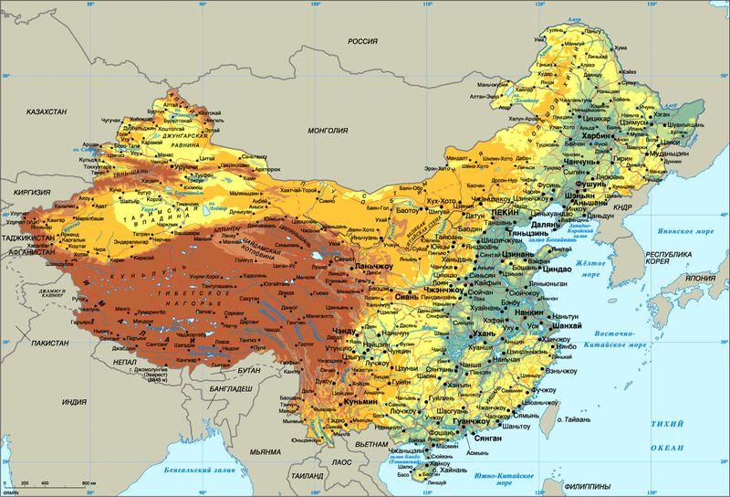 Расположение Китая
