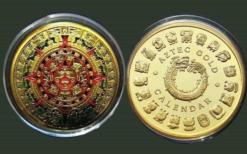 Монета из Мексики с календарем ацтеков