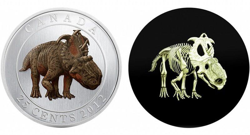 Канада. Монета со светящимся динозавром