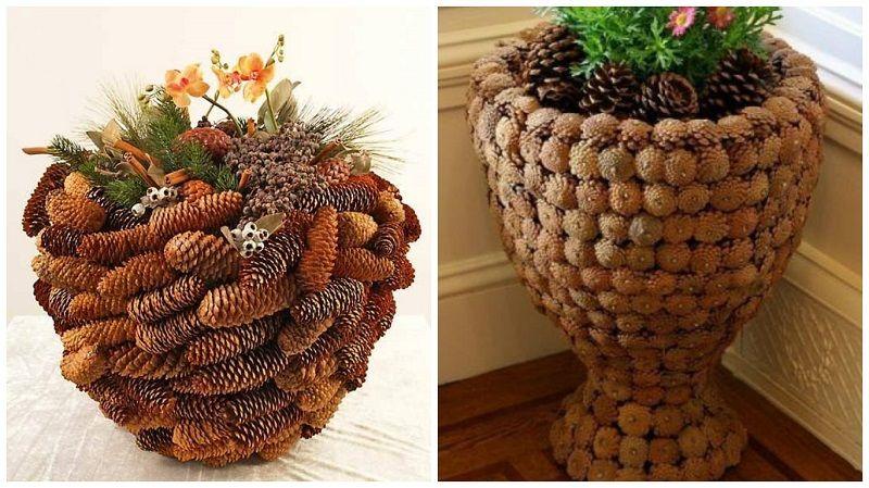 Удивительные вазы из шишек