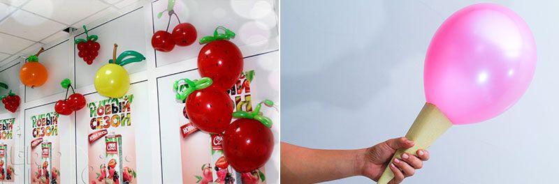 Фрукты и мороженое из воздушных шариков