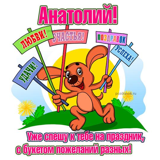 Анатолия с днем рождения картинки, спокойной