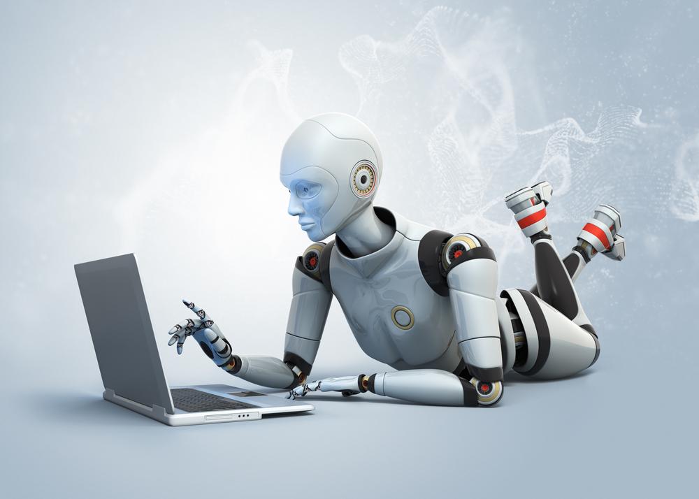 робот с ноутбуком