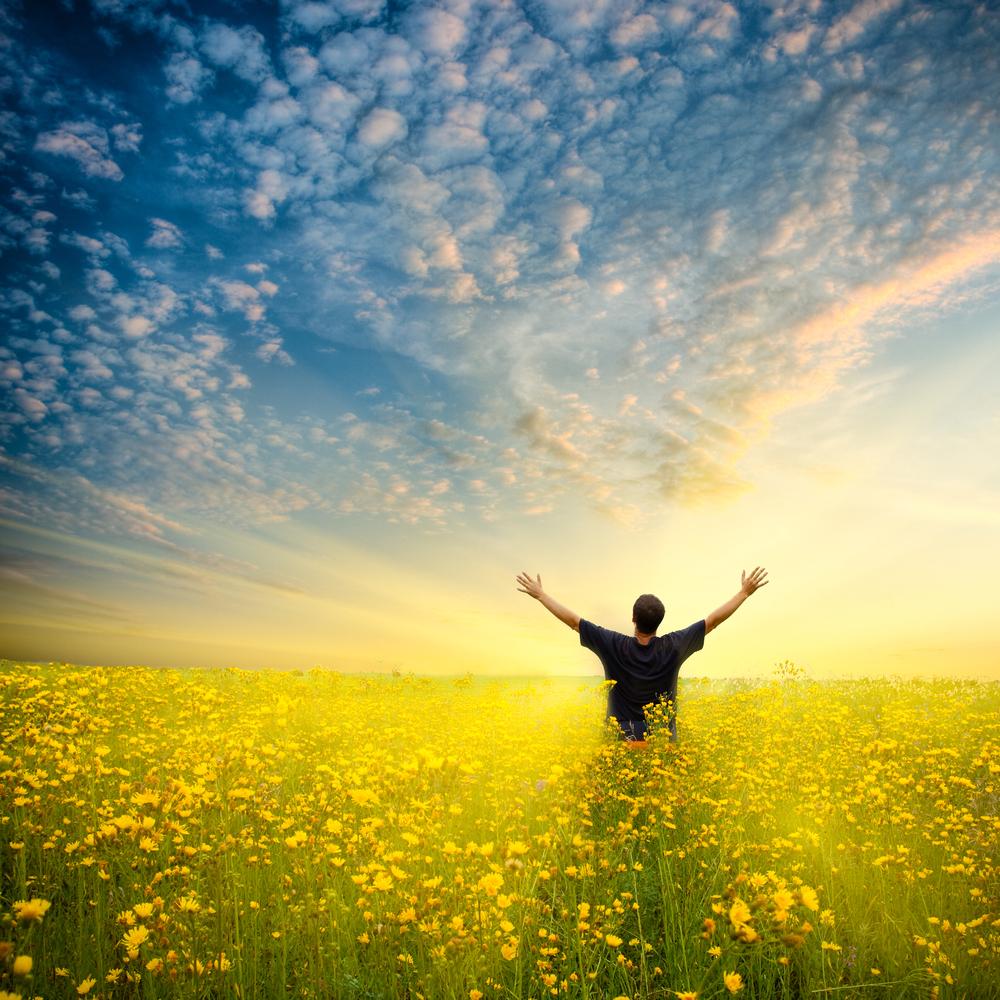 человек радуется жизни