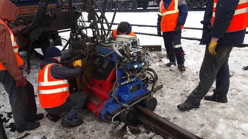 Welding works on railway tracks
