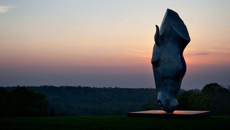 Памятник голове лошади на водопое