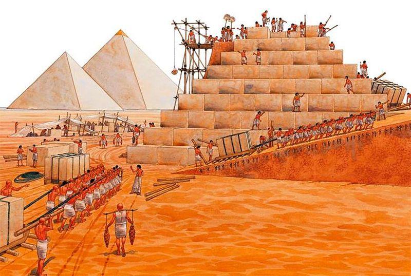 Подъем блоков на пирамиду