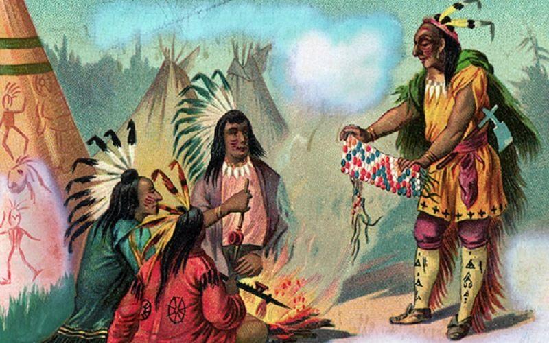 Натуральный обмен с индейцами стеклянными бусами