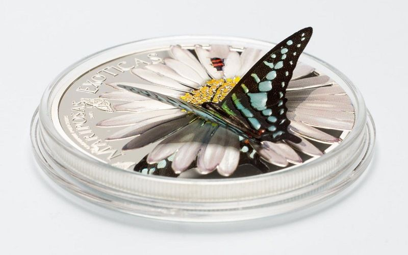 "Серебряная монета ""Камерунская бабочка"""