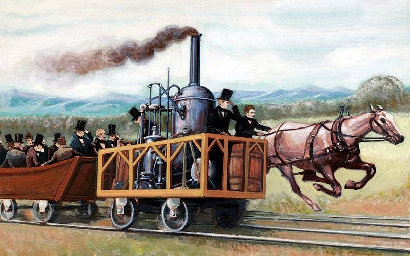 Competition between horse-drawn train and steam locomotive