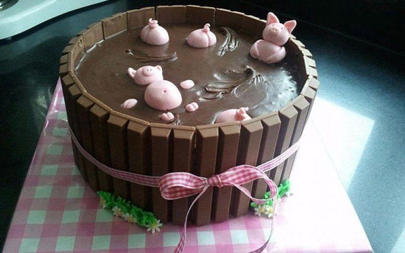 """Торт """"Поросята в шоколадной глазури"""""""