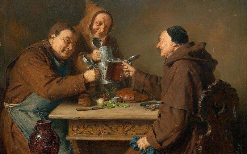 Монахи средневековой Европы пьют пиво