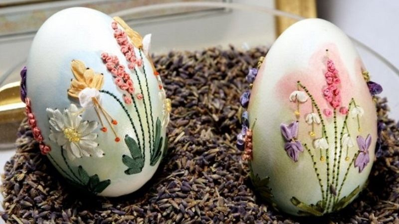 Элизабет Кляйн - вышивка на яичной скорлупе