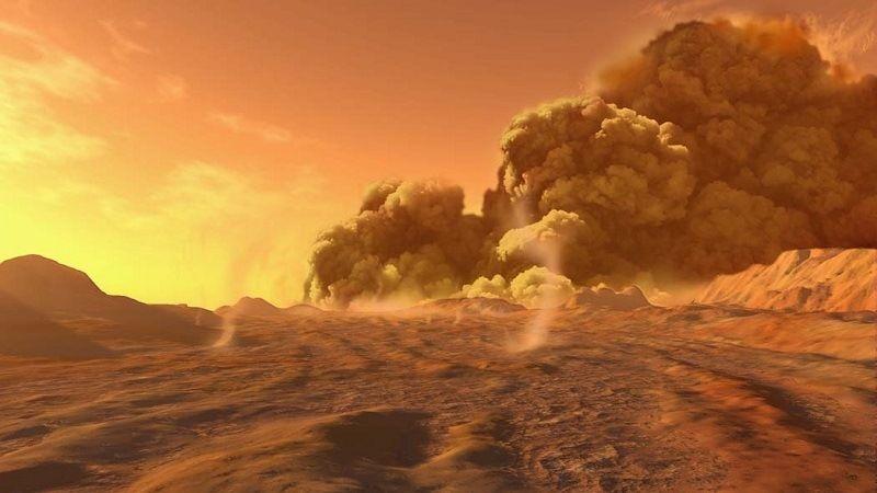 Бури и ураганы на Марсе
