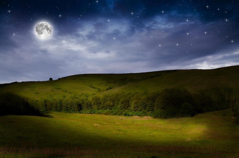 ярко светит луна