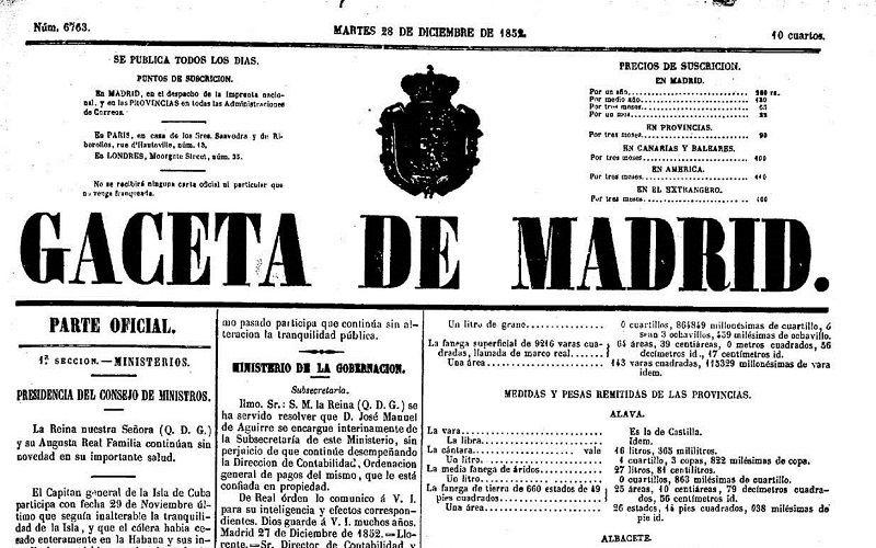 Первая испанская газета«Гасета нуэва де Мадрид»