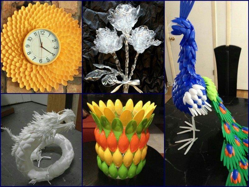 Дизайнерские поделки из пластиковых ложек