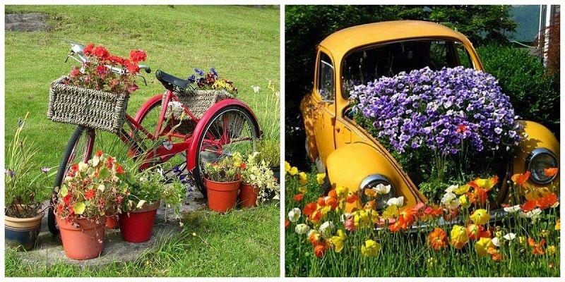 Цветники - велосипеды и машины